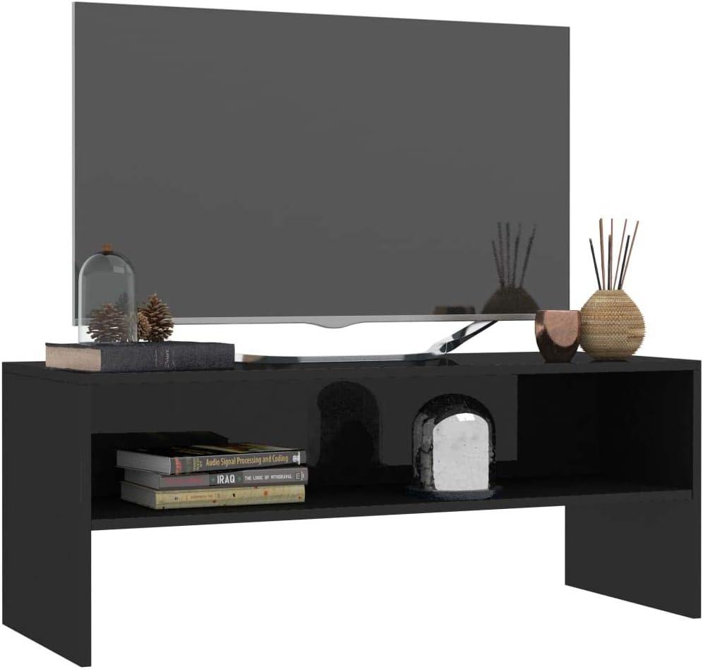 UnfadeMemory Mueble para TV,Mesa para TV,Estante de TV para Sal/ón Dormitorio,Estilo Cl/ásico,con Compartimento Abierto,Madera Aglomerada Blanco, 100x40x40cm