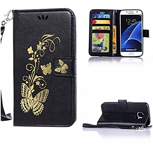 S7 case wallet,Cell Phone Case for galaxy S7,Yuncase Cover Holster Money Slot Girls Stand View Perfect Fit Samsung galaxy S7 (black) Sales
