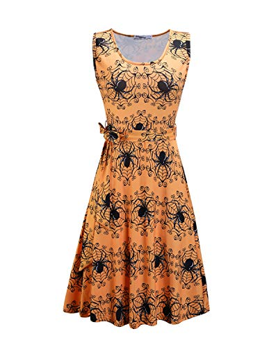STYLEWORD Women's Halloween Sleeveless Flare Cocktail Dress with Pocket(Floral08,L)]()