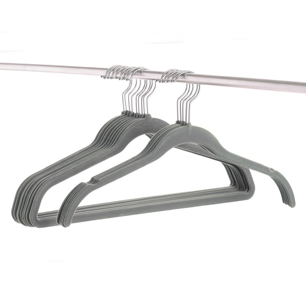 HAIREALM Coat Hanger Velvet Thin Space Saving Non-Slip Clothes Hangers Grey for Adult 20 per Pack EYZ20G