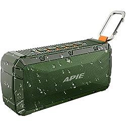 APIE Portable Wireless Outdoor Bluetooth Speaker IPX6 Waterproof Dual 10W Driversf , Enhanced Bass, Built in Mic,water Resistant,Beach, Shower & Home