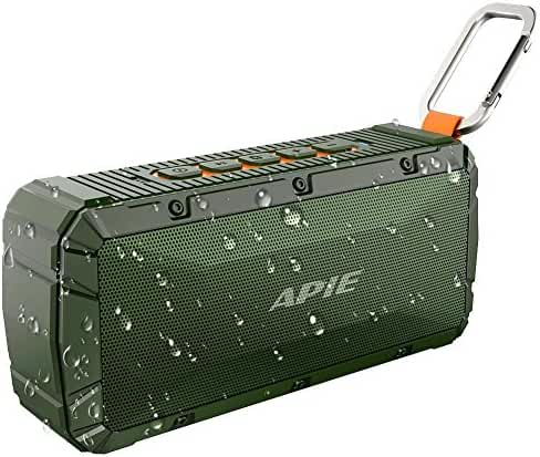 APIE Portable Wireless Outdoor Bluetooth Speaker IPX6 Waterproof Dual 10W Drivers, Enhanced Bass, Built in Mic,water Resistant,Beach, Shower & Home