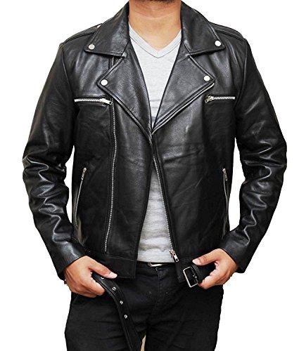 Mens Black Leather Biker Jacket - 4