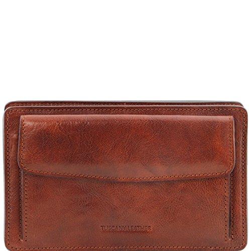 Tuscany Leather Denis - Elegante bolsillo de señor en piel Marrón oscuro Bolsos en piel Marrón