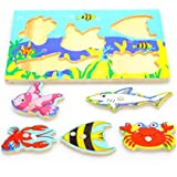 Educational toys for children 1-3 years old baby small wooden magnetic fishing toys Wooden Magnetic Jigsaw Puzzle Board Toys