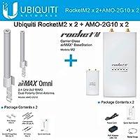 Ubiquiti RocketM2 RM2 2.4GHz (X2) + AMO-2G10 (X2) 2.4GHz 10dBi Omni 2-pack