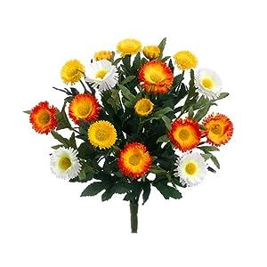"Arcadia Silk Plantation 12"" Aster Daisy Bush x7 Yellow White (pack of 12) 34"