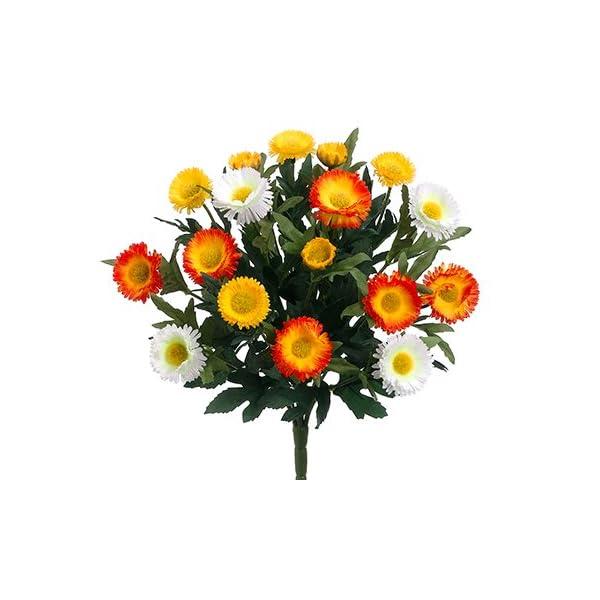 Arcadia Silk Plantation 12″ Aster Daisy Bush x7 Yellow White (pack of 12)