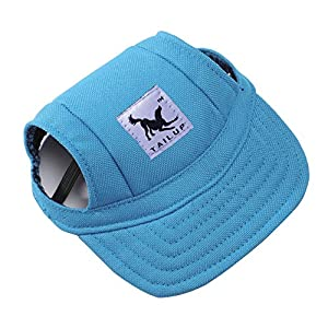 Pet Dog Hats for Small Size Dogs Cideros Visor Design Fashion Dogs Baseball Sun Hats Sport Cap with Ear Holes and Chin Strap - Size M (Blue Color)