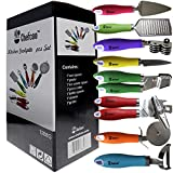 8 Pieces Kitchen Gadget Tools Set by Chefcoo™ - Stainless-Steel Utensils Chef Cooking Set - Peeler, Knife, Pie Server, Can Opener, Pizza Cutter, Grater, Knife Sharpener & Garlic Press