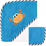 """Luvable Friends """"Crab"""" Hooded Towel & Washcloth - blue, one size"""