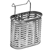 Ozzptuu Stainless Steel Over the Cabinet Door Storage Basket Rack Kitchen Chopsticks Organizer Silver