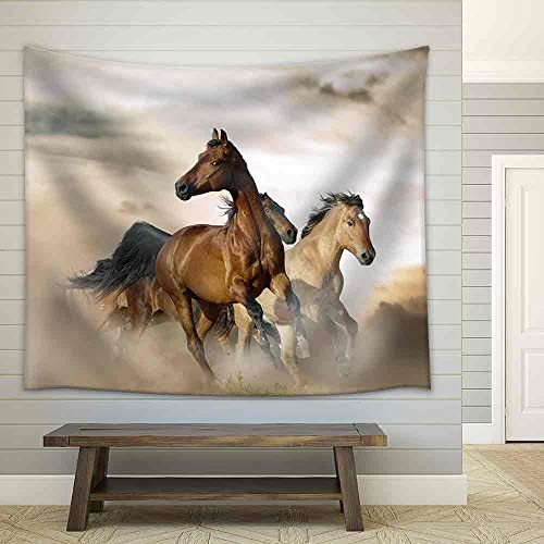 Beautiful Horses of Different Breeds Running in Dust on Sunset Fabric Wall