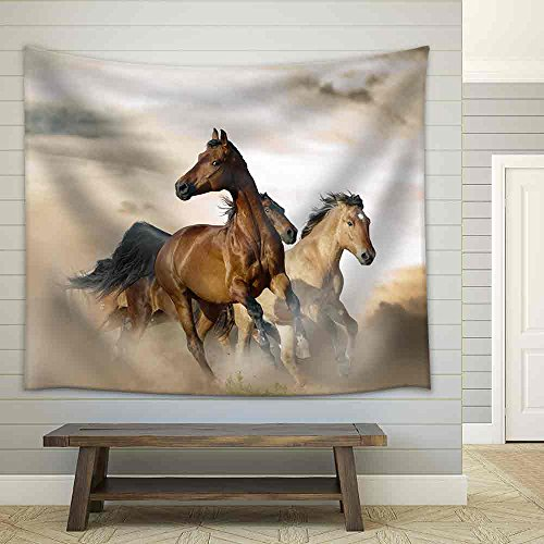 Beautiful Horses of Different Breeds Running in Dust on Sunset Fabric Wall Tapestry