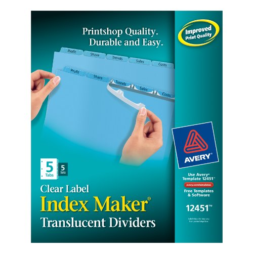 (Avery Index Maker Translucent Dividers with Clear Labels, 5 Tab, Blue, 5 Sets (12451) )