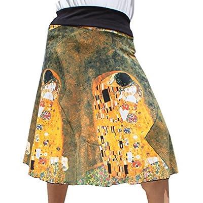 Raan Pah Muang RaanPahMuang Gustav Klimt The Kiss 3/4 Length Patch Skirt at  Women's Clothing store