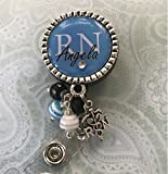 Personalized RN Nurse ID Badge Reel, Blue bling Nurse Gift, LPN BSN Custom RN Retractable ID holder, Nurse Name