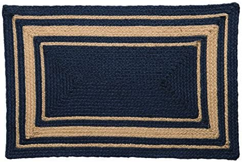 IHF Home Decor Heritage Blue Braided Area Rug Rectangle Jute Fabric Mat 8' x 10' Blue