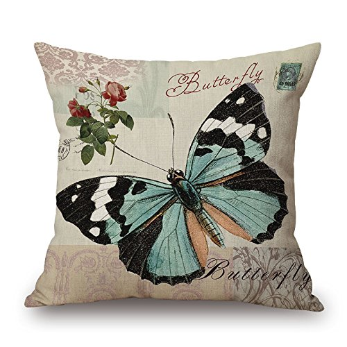 Elliot_yew Home Office Decorative Cotton Linen Square Throw Pillowcase Cushion Cover Pillow Shams Vintage Butterfly Flower 18