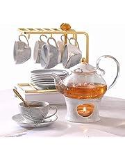 DUJUST Small Tea Set for Adults, Marble Texture & Golden Trim, Handcraft Gray Porcelain Tea Party Set for Kids, 1 Glass Teapot(650ml), 6 Cups(120ml), 6 Saucers, 1 Shelf&1 Warmer, Elegant Tea Gift Set