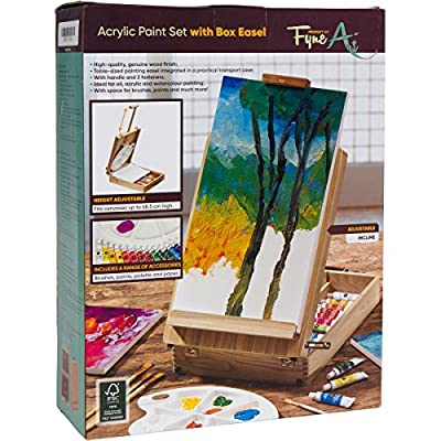 FyneArt, 51 Piece Artist Easel Set with Canvas Acrylic Painting Kit for Desk, Table & Tabletop Painters Includes Art Supplies Box, Paint, Brush, White Tray Pallete & More! Great Gift for Adults & Kids