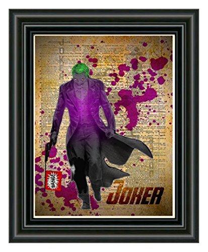 (The Joker art print, splatter art, superhero decor, cool pop art, vintage dictionary art print )