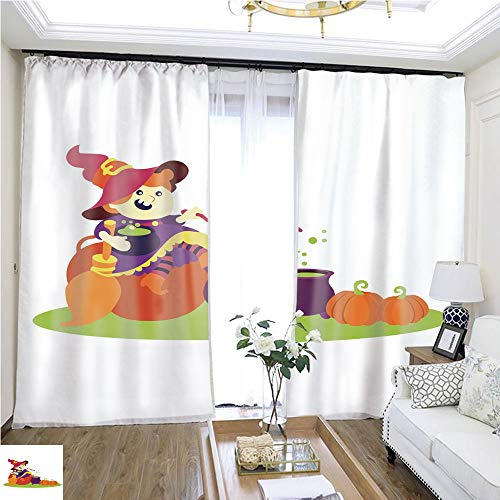 Curtain lace Cute Cartoon Halloween Witch W96 x L180 Eliminate The Turf Highprecision Curtains for bedrooms Living Rooms Kitchens etc. ()