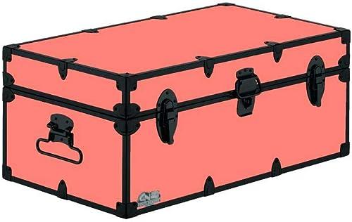C N Footlockers Camp Trunk Footlocker – Happy Camper with Black Trim 32 x 18 x 13.5 Inches