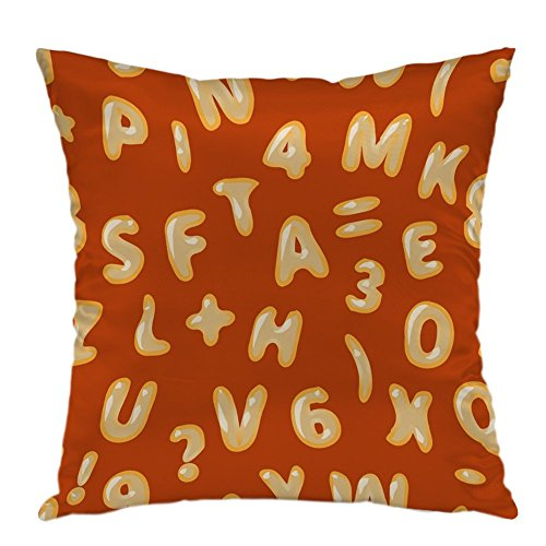 (oFloral Pillow Covers Cases Alphabet Soup Latin On Red Pattern Pillowcase Decorative Square Cushion Cover For Home Decor)