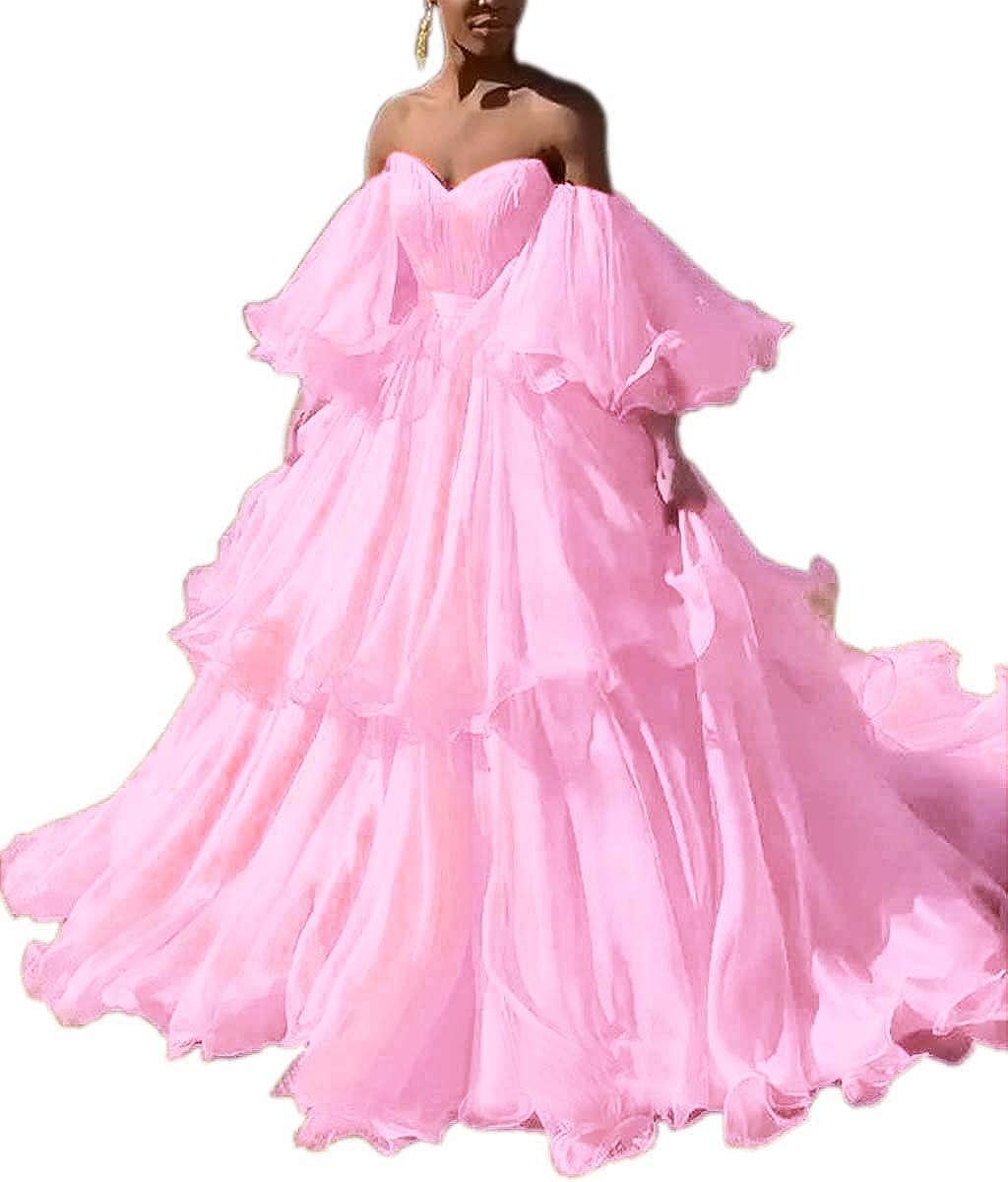 Pink Mauwey Women's Sweetheart Bell Sleeve Long Ruffles Organza Formal Prom Dresses Wedding Dress Evening Party Gown