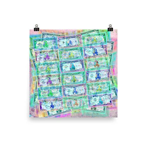 540 Million Dollars Blue Green Pastel Money Bling Cash Dollar Bills Loot Coin Poster ()