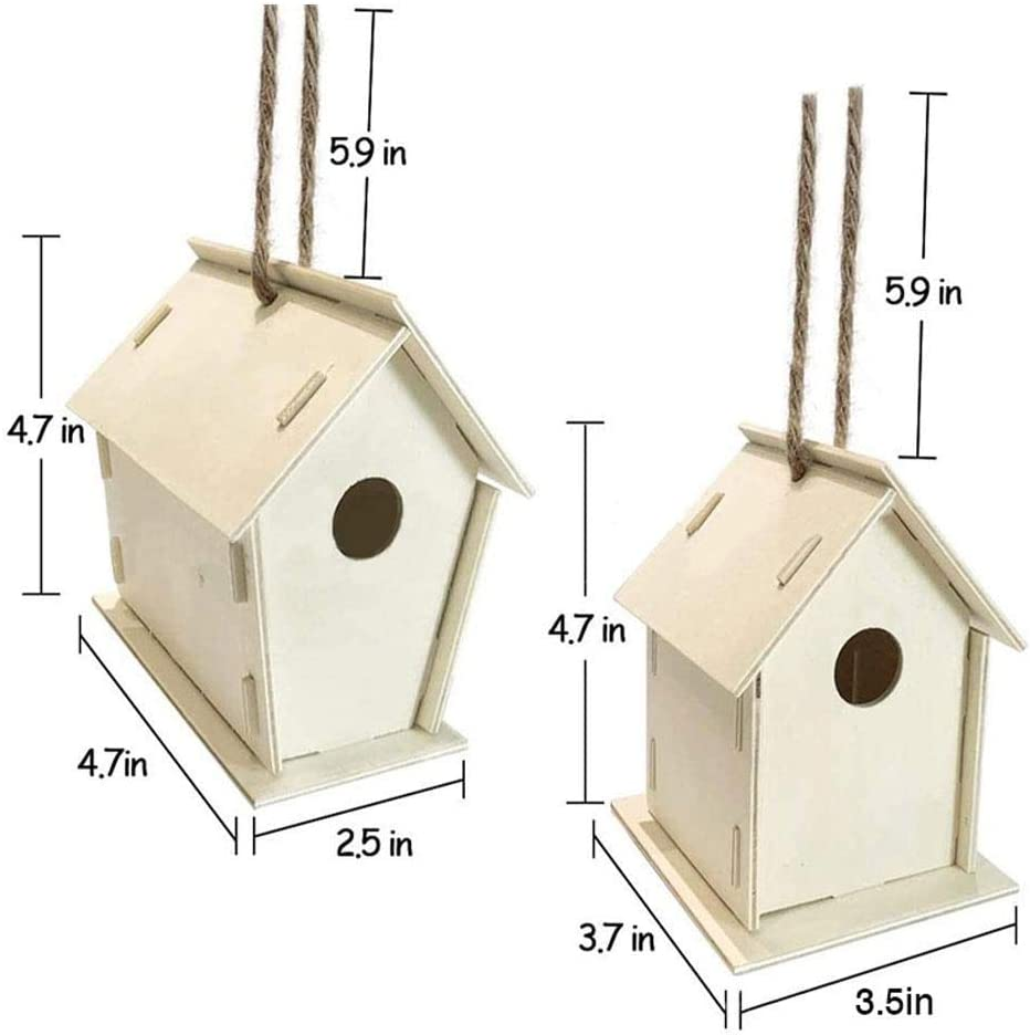 xiaohuhu Bird House Kit DIY Birdhouse Set with Paint and Pen and Rope for Outdoor Birdhouse Making