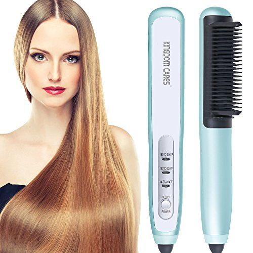 KINGDOMCARES New Year Gifts Ionic Hair Straightener Brush Flat Iron Comb Curling Iron Ceramic Hair Curler Silky Frizz-Free Quick Straight Studio Salon High Heated Hair Straightening Brush(Blue)