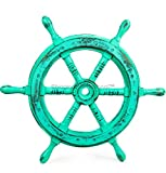 Nagina International 18″ Maritime Rustic Grey Antique Wooden Crafted Wall Decor Nautical Ship Wheel Authentic Ship Wheel