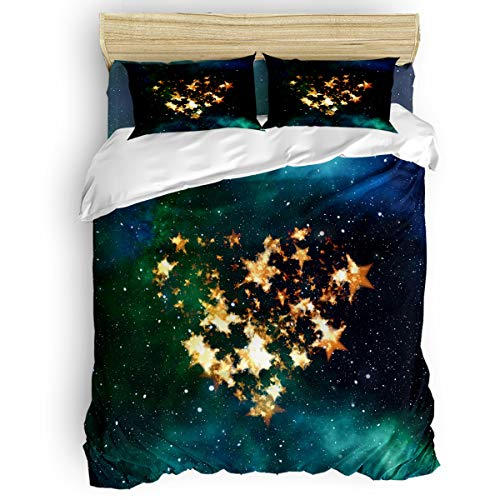 FunDecorArt 4 Piece Duvet Cover Set King Size, Valentine's Day Starry Sky Stars Love, Polyester Bedding Set Comforter Cover Bedspread Pillow Cases for Couples Lovers Adults