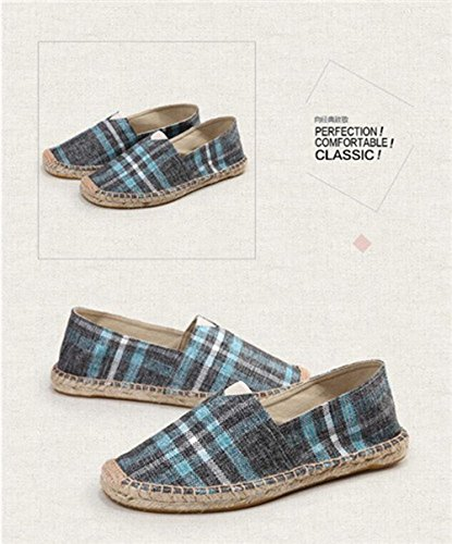 Amazon.com | Jackdaine Men and Women Plaid Canvas Shoes Linen Fisherman Shoes Lazy Breathable Carrefour Shoes Green | Loafers & Slip-Ons