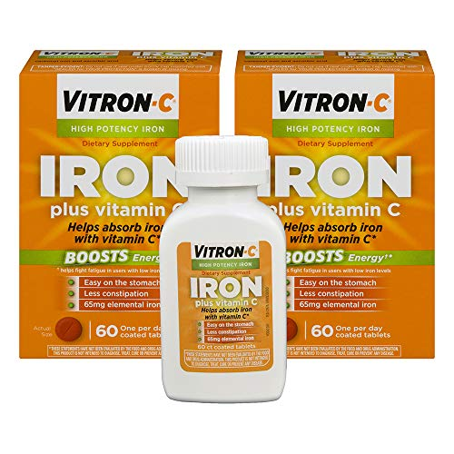 Vitron-C High Potency Iron Supplement with Vitamin C | 60 Count | Pack of 2