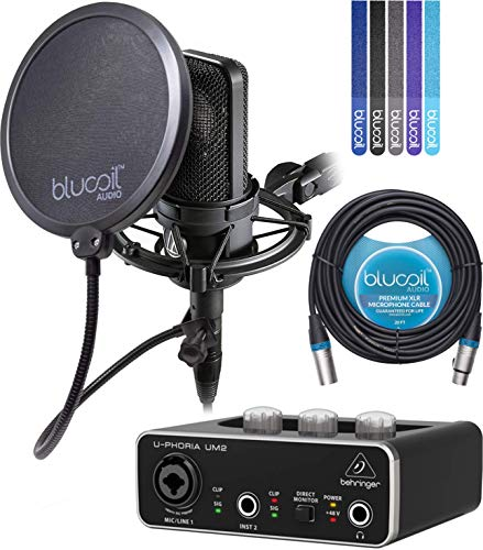4040 Studio - Audio-Technica AT4040 Cardioid Condenser Microphone Bundle with Behringer U-PHORIA UM2 2x2 USB Audio Interface, Blucoil 20-Ft XLR Cable, Pop Filter and 5-Pack of Cable Ties