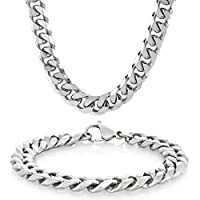 """Men's Stainless Steel Curb Chain Bracelet 8.5"""" and Necklace 24"""" Set with Crucible Keychain"""