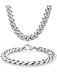 "Men's Stainless Steel Curb Chain Bracelet 8.5"" and Necklace 24"" Set"