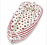 Ukeler Baby Bassinet for Bed- Red Stars Design Baby Lounger/Bed Bassinet- Breathable & Hypoallergenic Co-Sleeping Baby Bed - 100% Cotton Portable Crib for Bedroom/Travel