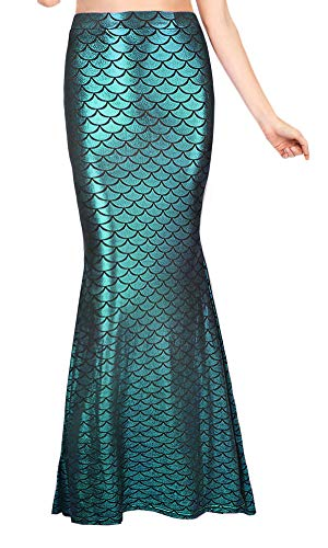 (Halloween Costume Women High Waist Fish Scales Club Wear Sexy Shiny Cosplay Maxi Skirt Turquoise)