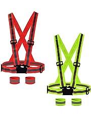 Ur-Excellent 2 Chaleco reflectante para correr, seguridad y visibilidad, 4 muñequeras