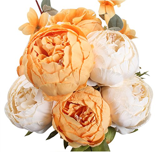 XIUER Vintage Artificial Flowers Fake Peony Flowers Bouquet Glorious Wedding Home Bridal Decoration (New Orange)