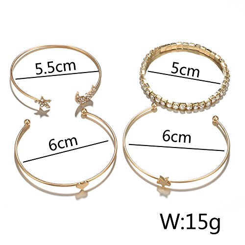 Gold Heart Star Moon Zirconia Bangle Bracelets for Girls,Gold Open Wrapped Bangles 4 Pcs Set MINGHUA