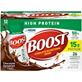 Boost High Protein Complete Nutritional Drink, Chocolate Sensation, 8 fl oz Bottle,12 Count (Pack of 1)