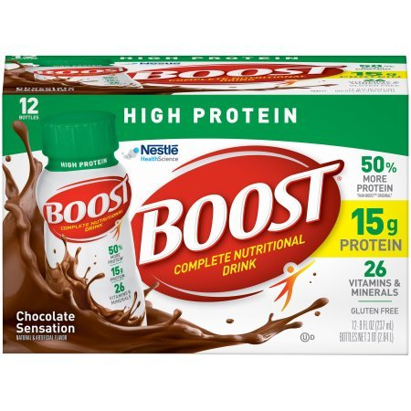 Boost High Protein Complete Nutritional Drink, Chocolate Sensation, 8 fl oz Bottle,12 Count (Pack of 5) by Boost Nutritional Drinks