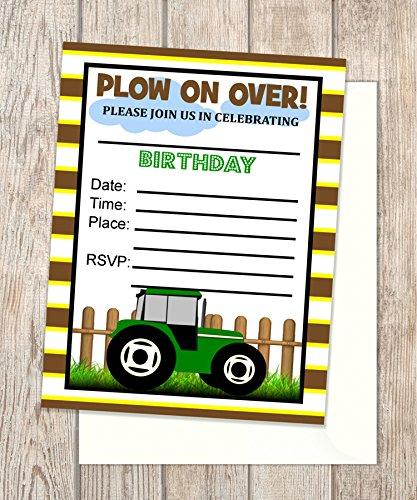 Amazon green tractor invitations fill in blank flat cards green tractor invitations fill in blank flat cards set of 20 farm filmwisefo