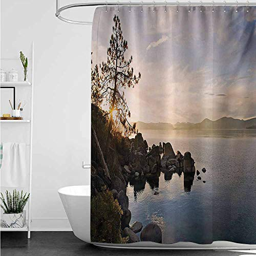 home1love Bathtub Splash Guard,Lake Lake Tahoe at Sunset with Clear Sky and Single Pine Tree Rest Peaceful Weekend Photo,for Master, Kid's, Guest Bathroom,W55x84L,Blue Grey (Tahoe Tub Package)
