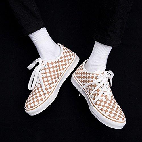 maschile stile Brown in da e bianco uomo da 41 moda Scarpe nero coreano Scarpe scarpe Espadrillas basse scarpe grata di Harajuku Size di di Color tela Brown stile stoffa lavoro wxF8OO